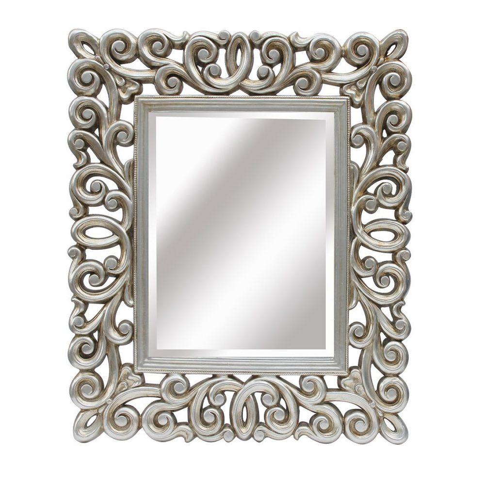 espejo con marco de resina cuadrado plata