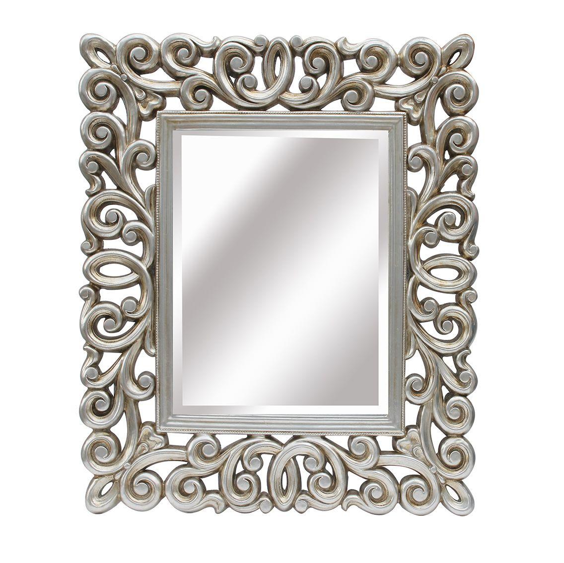 Espejo con marco de resina cuadrado plata lleno de molduras - Espejos marco plateado ...
