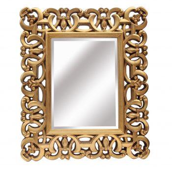 espejo de resina cuadrado dorado