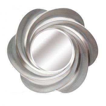 Espejo de resina redondo plata