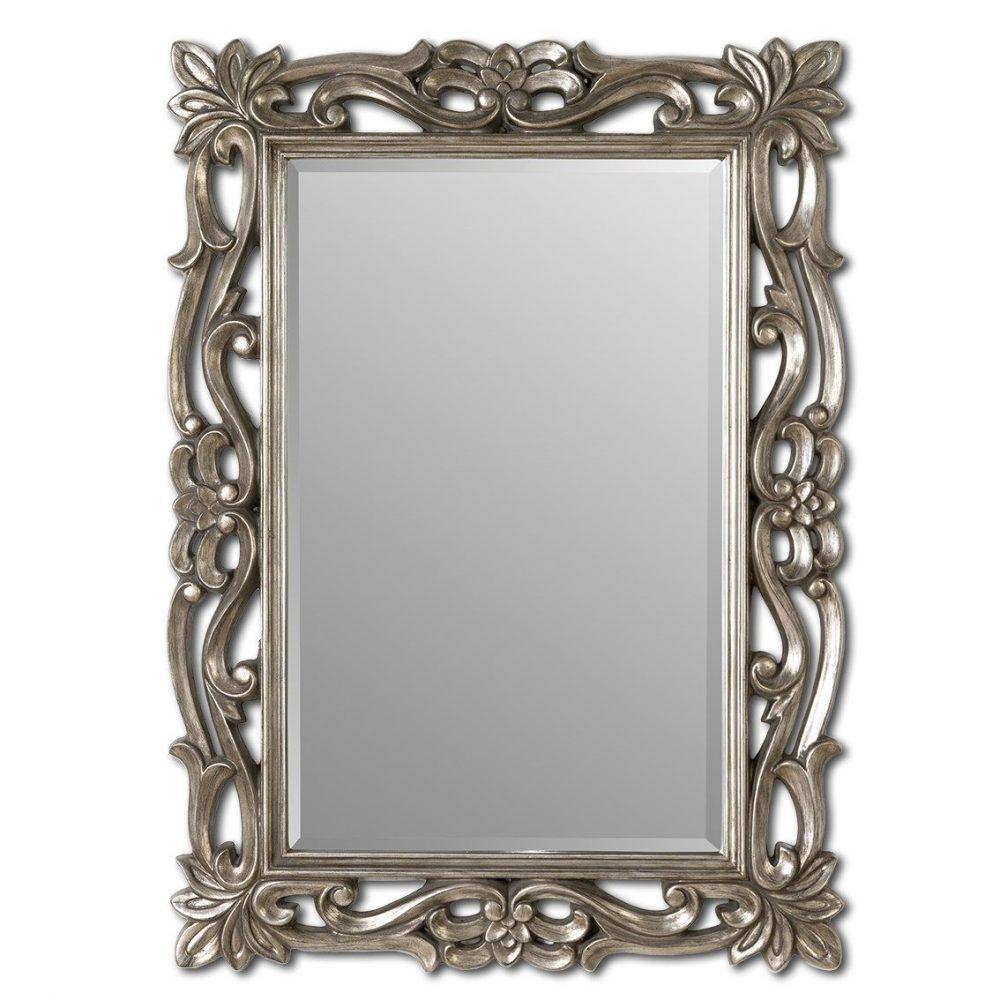 espejo de resina cuadrado plata