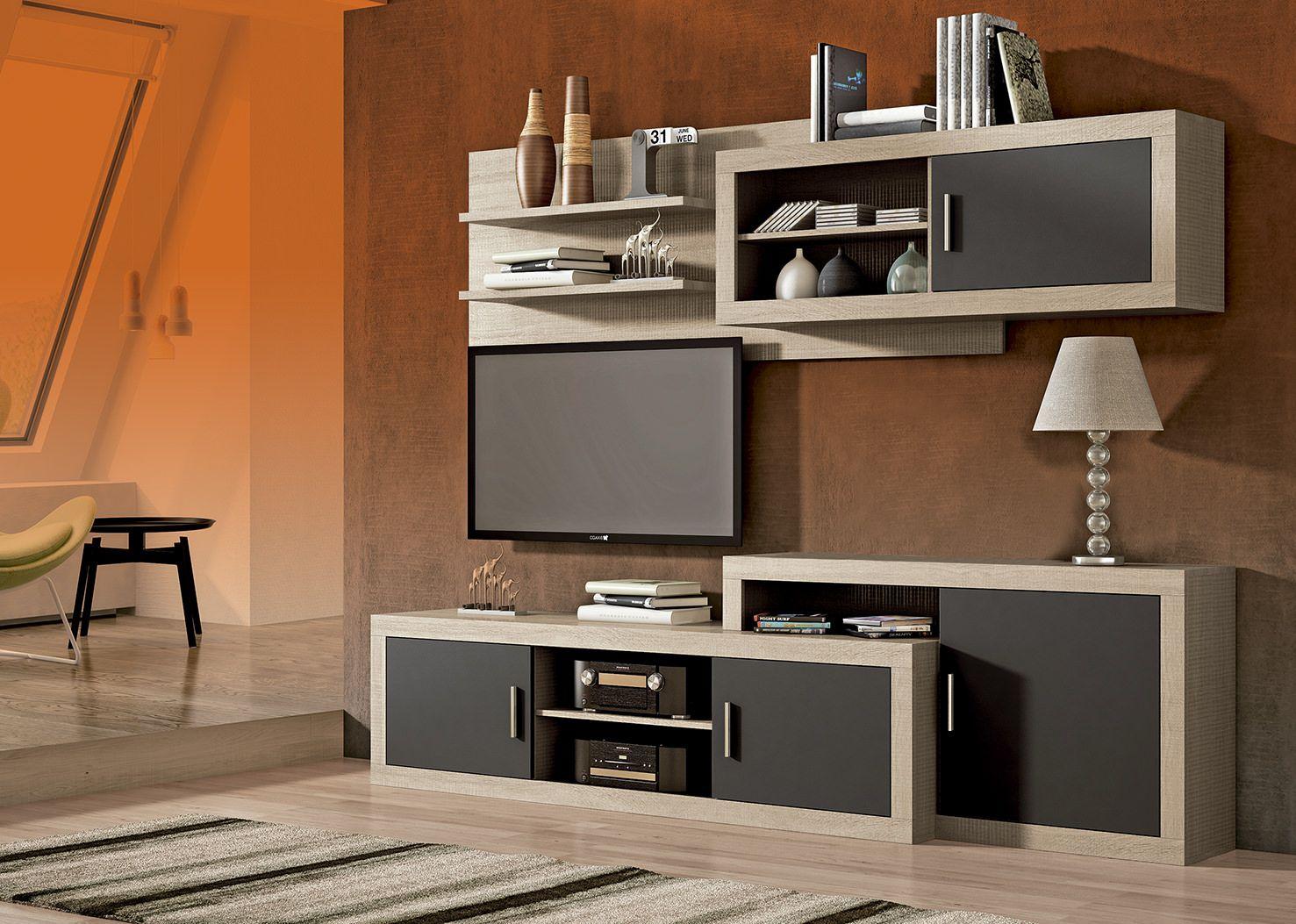 Mueble de comedor low cost laraga 03 en color cambrian y negro - Muebles low cost ...