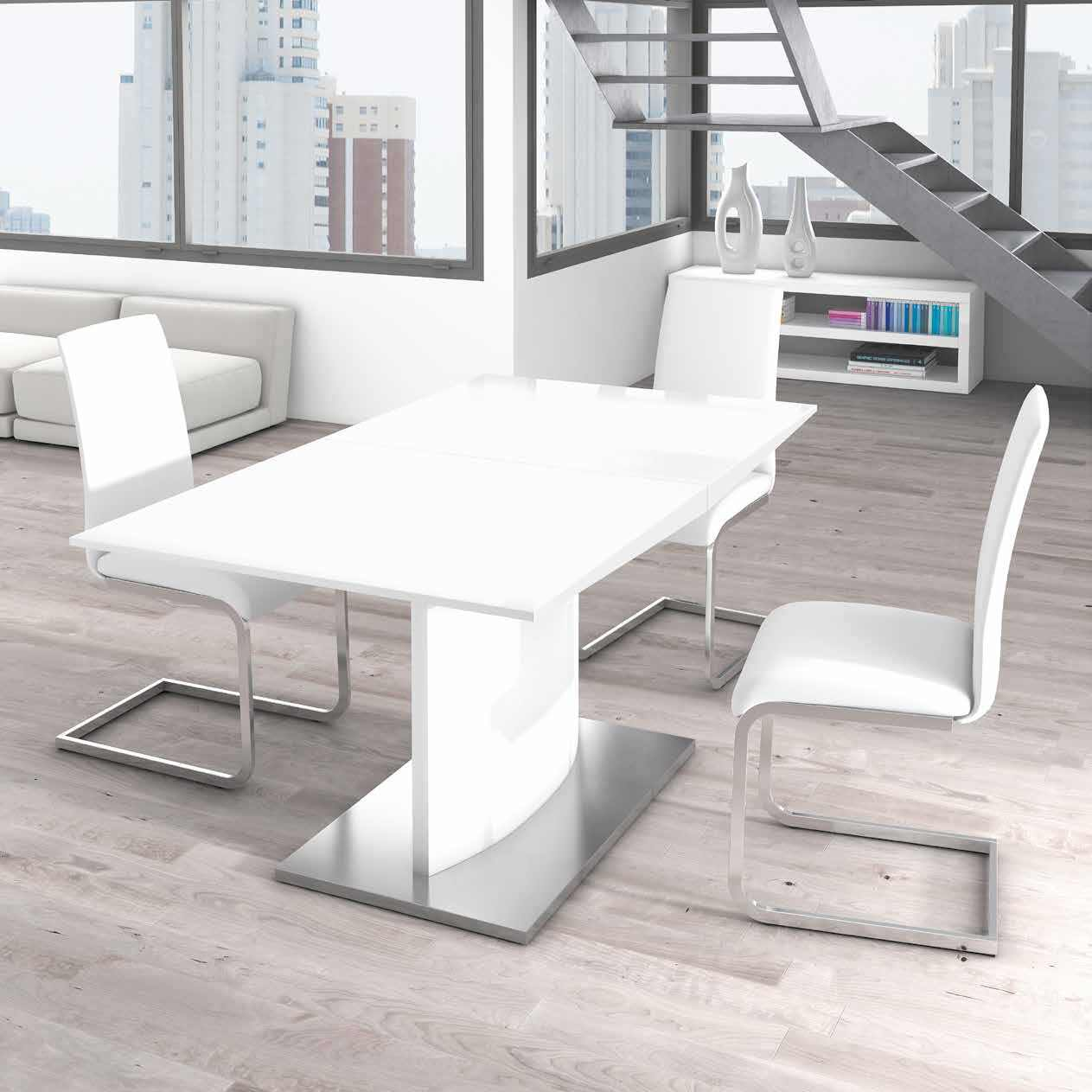 Mesa de comedor martcolon contempor nea en blanco brillo for Mesa comedor blanco brillo