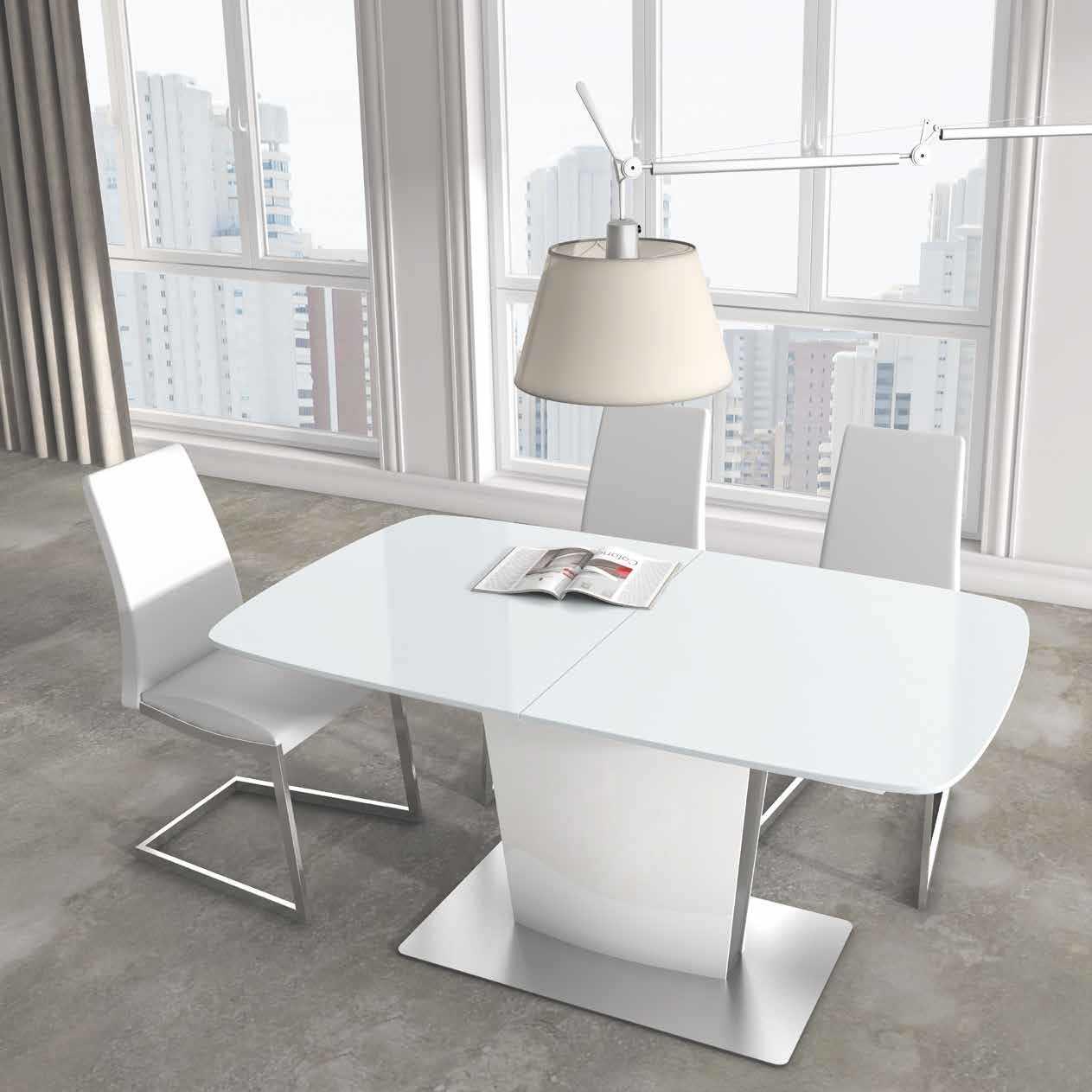 Mesa de comedor colonzen contempor nea en blanco brillo for Mesa comedor blanco brillo